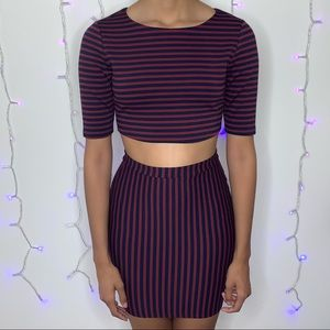 Maroon and Navy Blue Striped Dress